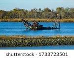 Scuttled ship in the river in Savannah, Georgia
