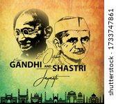 2nd october mahatma gandhi and... | Shutterstock .eps vector #1733747861