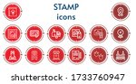 editable 14 stamp icons for web ... | Shutterstock .eps vector #1733760947