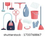 colorful collection of cleaning ... | Shutterstock .eps vector #1733768867
