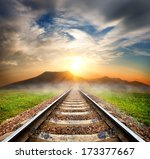 railroad to the mountains at... | Shutterstock . vector #173377667