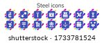 steel icon set. 14 filled steel ... | Shutterstock .eps vector #1733781524
