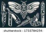 vintage elegant flash tattoos... | Shutterstock . vector #1733784254