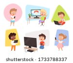 kids with gadgets. future... | Shutterstock .eps vector #1733788337