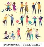 high five friends. greeting... | Shutterstock .eps vector #1733788367