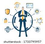 businessman and communication... | Shutterstock .eps vector #1733795957