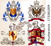collection of heraldic shield... | Shutterstock .eps vector #173381009