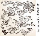vector set of swirl elements... | Shutterstock .eps vector #173381117