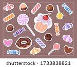 set of sweets. tasty food... | Shutterstock .eps vector #1733838821