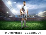 football player with ball on... | Shutterstock . vector #173385707