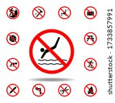 forbidden swimming icon. set...