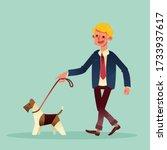 happy businessman walking with... | Shutterstock .eps vector #1733937617