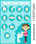 wash your hands steps vector... | Shutterstock .eps vector #1733971604