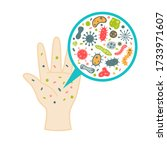 bacteria on hand illustration... | Shutterstock .eps vector #1733971607