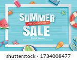 summer sale with decoration... | Shutterstock .eps vector #1734008477