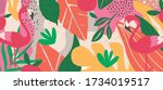 colorful flowers and leaves... | Shutterstock .eps vector #1734019517