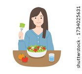 young women eating salads. diet ... | Shutterstock .eps vector #1734025631