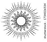 vintage hand drawn sun. retro...   Shutterstock .eps vector #1734026534
