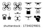 drone icon set with gadget and... | Shutterstock .eps vector #1734029801