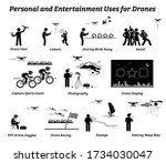 drone usage and applications... | Shutterstock .eps vector #1734030047