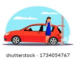 traffic accident. unhappy woman ... | Shutterstock .eps vector #1734054767