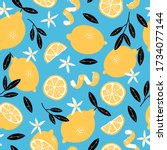 summer seamless pattern with... | Shutterstock .eps vector #1734077144