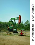 pumpjack pumping crude oil from oil well - stock photo