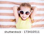 Adorable Little Girl Lying On ...