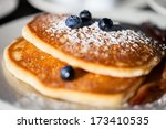 Close up of a delicious blueberry pancakes for breakfast - stock photo