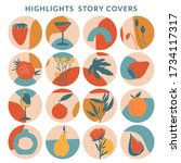 collection of highlight story... | Shutterstock .eps vector #1734117317