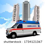 dormitory and ambulance. vector ... | Shutterstock .eps vector #1734121367