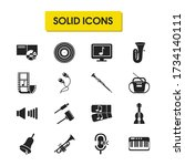music icons set with earphone ...