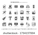 simple set of stay home... | Shutterstock .eps vector #1734157004