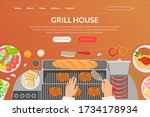 grill house tasty dishes... | Shutterstock .eps vector #1734178934