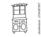 a single antique cupboard drawn ... | Shutterstock .eps vector #1734187397