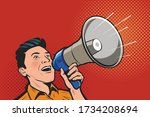 man speaking in megaphone.... | Shutterstock .eps vector #1734208694