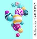 multicolored decorative balls.... | Shutterstock .eps vector #1734221297