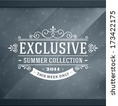 Window advertising exclusive decals graphics. Vector design elements set. Discount sale sign.