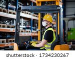 Man Worker Forklift Driver With ...