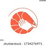 shrimp silhouette. isolated... | Shutterstock .eps vector #1734276971