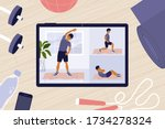 home gym. online workout... | Shutterstock .eps vector #1734278324