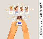 order pizza online vector... | Shutterstock .eps vector #1734288047