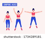 girl doing jumping jacks... | Shutterstock .eps vector #1734289181
