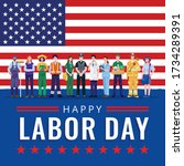 happy labor day. various... | Shutterstock .eps vector #1734289391