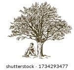 Man Sitting Under Tree. Hand...