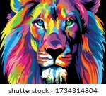 Multi Colored Art Lion. Vector...
