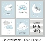 set of cute baby shower cards... | Shutterstock .eps vector #1734317087