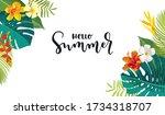 hello summer calligraphy card.... | Shutterstock .eps vector #1734318707