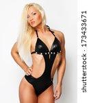blonde woman wearing a black... | Shutterstock . vector #173433671
