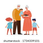 grandparents are standing with...   Shutterstock .eps vector #1734339101